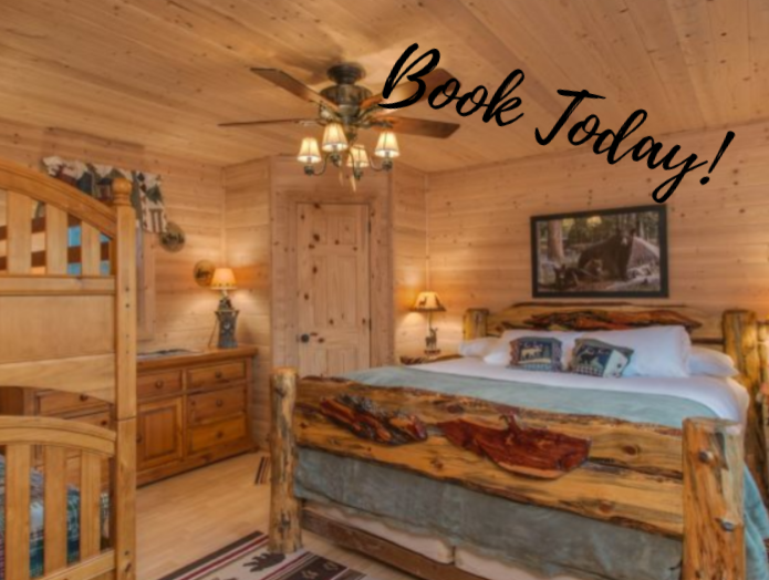 "Lost Creek Cabin bedroom with ""Book Today"" text overlay"